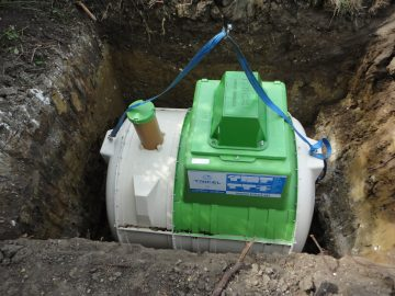sewage treatment plant lowered in position