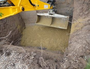 concrete base situated at the bottom of excavation to sit new sewage treatment plant