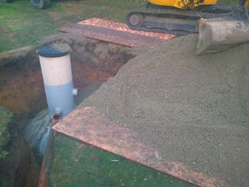 septic tank back fill with concrete