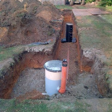 soakaway trenched after the new septic tank installation